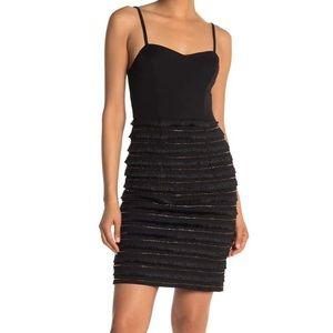 MARINA BLACK BEAD & FRINGE TRIM MINI DRESS NWT!